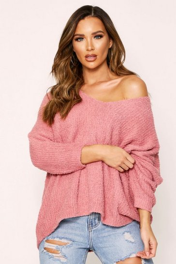 Womens Rose Fluffy V Neck Oversized Jumper