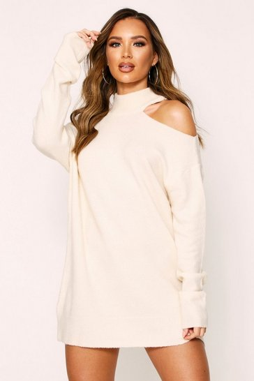 Cream Cut Out Shoulder Knitted Jumper Dress