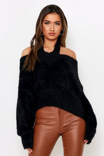 Black Cut Out Shoulder Fluffy Knit Jumper