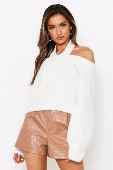 White Cut Out Shoulder Fluffy Knit Jumper