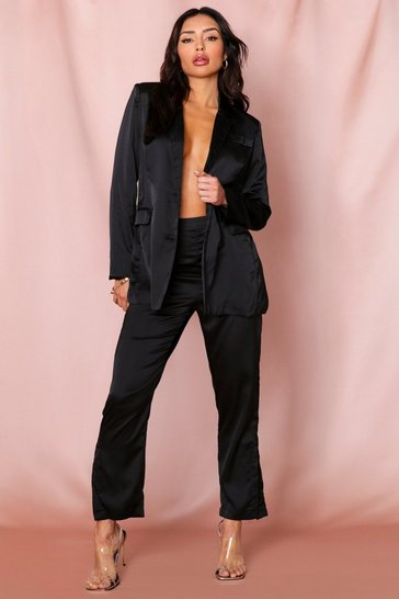 Womens Black Satin Button Detail Cigarette Trousers