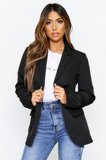Black Woven Tailored Blazer
