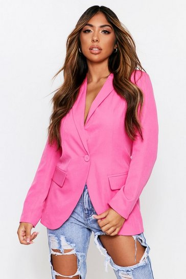 Fuchsia Woven Tailored Blazer
