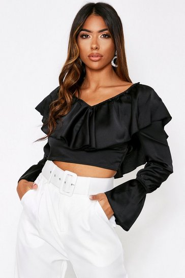 Womens Black Satin Frill Detail Top