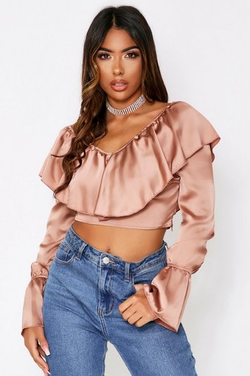 Womens Taupe Satin Frill Detail Top