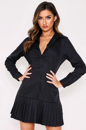 Womens Black Pleated Hem Smock Shirt Dress