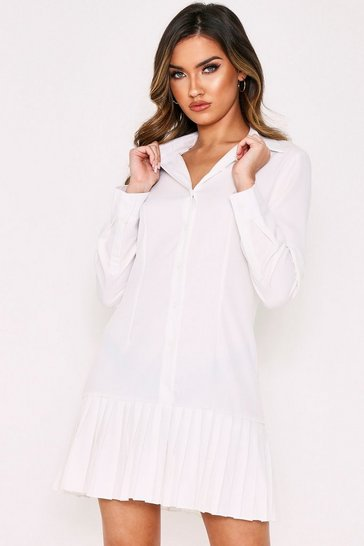 White Pleated Hem Smock Shirt Dress