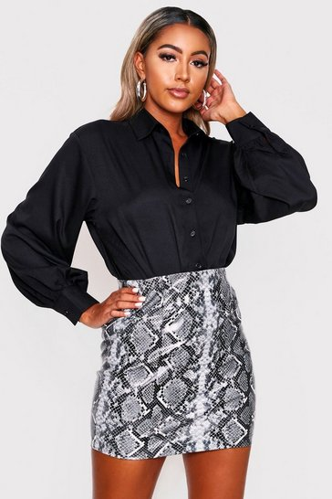 Womens Black Balloon Sleeve Oversized Shirt