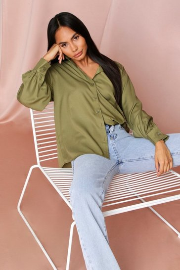 Khaki Balloon Sleeve Oversized Shirt