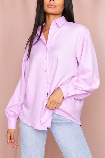 Lilac Balloon Sleeve Oversized Shirt