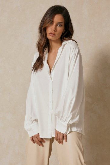 Womens White Balloon Sleeve Oversized Shirt