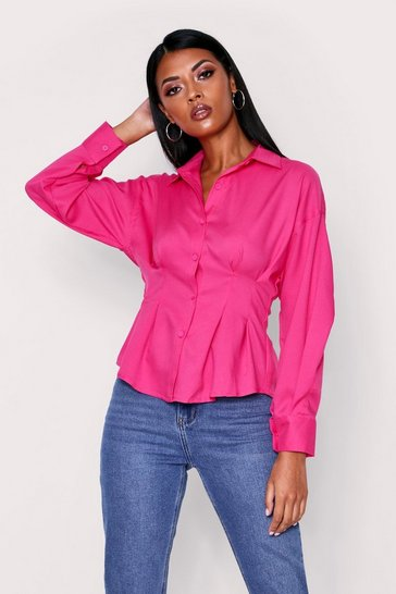 Black Fitted Waist Structured Shirt