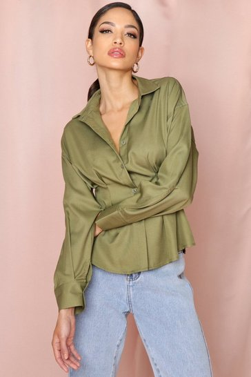 Khaki Fitted Waist Structured Shirt