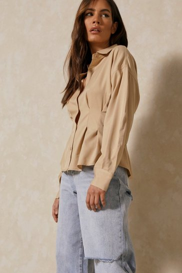 Stone Fitted Waist Structured Shirt