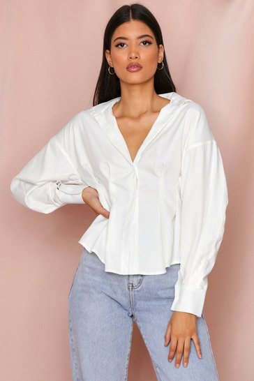 White Fitted Waist Structured Shirt