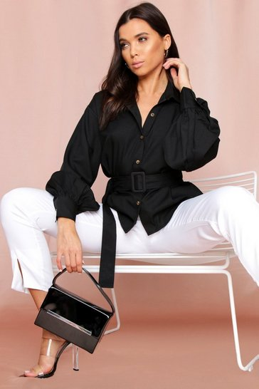 Black Belted Balloon Sleeve Shirt