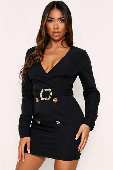 Black Belted Utility Wrap Dress