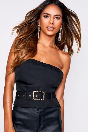 Womens Black Belted Corset Style Bandeau Top