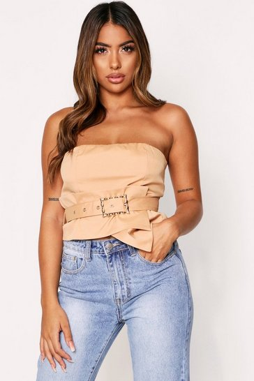Womens Stone Belted Corset Style Bandeau Top