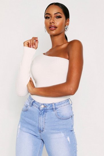 Cream One Shoulder Ribbed Top
