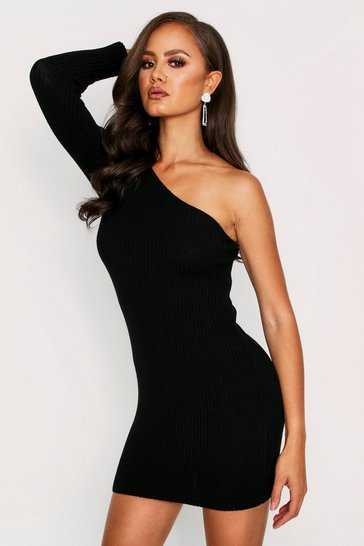 Womens Black One Shoulder Ribbed Knit Dress
