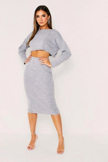 Womens Grey Slash Neck Midi Skirt Knit Co-Ord