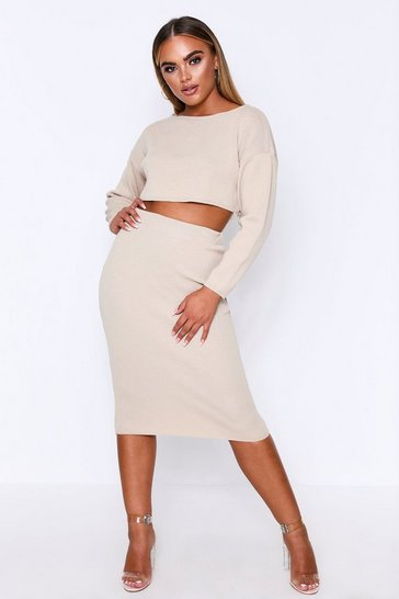 Oatmeal Slash Neck Midi Skirt Knit Co-Ord
