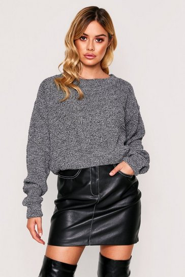 Womens Grey Basic Waffle Knit Cropped Jumper