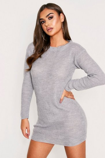 Womens Grey Basic Waffle Knit Dress