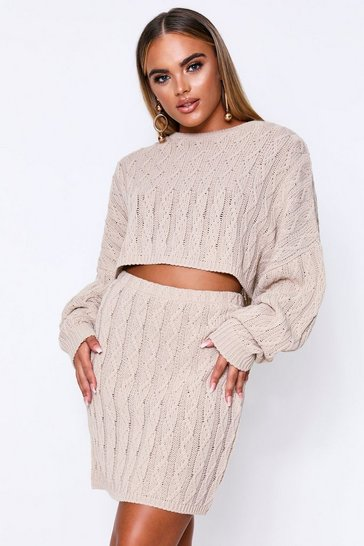 Womens Oatmeal Cable Knit Cropped Knit & Skirt Co-Ord