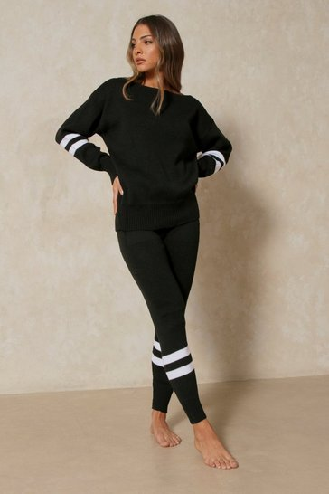 Black Sports Stripe Knitted Lounge Set
