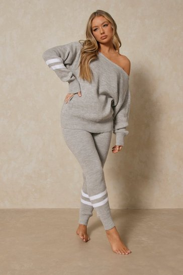 Grey Sports Stripe Knitted Lounge Set