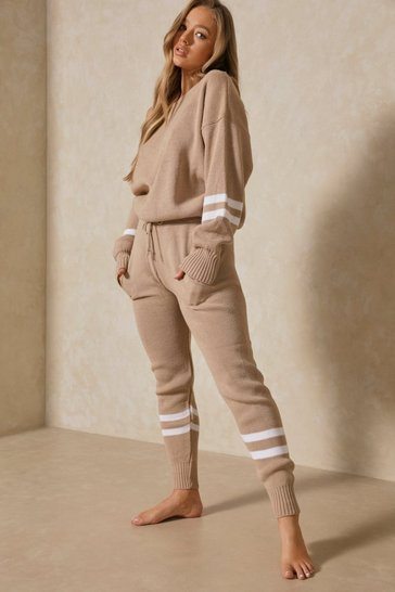 Womens Oatmeal Sports Stripe Knitted Lounge Set