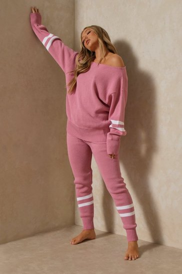 Pink Sports Stripe Knitted Lounge Set
