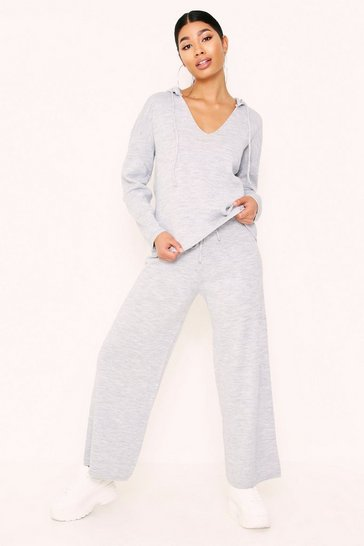 Womens Grey V Neck Knitted Hooded Lounge Set