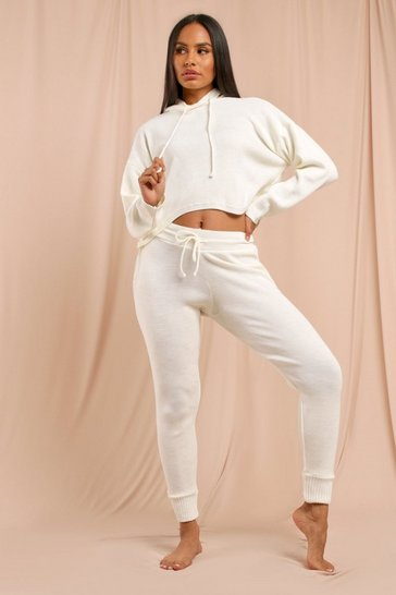 Womens Cream Basic Knitted Hooded Lounge Set