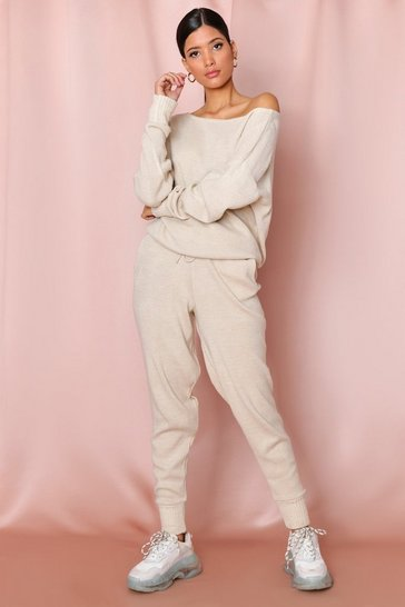 Oatmeal Basic Slash Neck Knitted Lounge Set