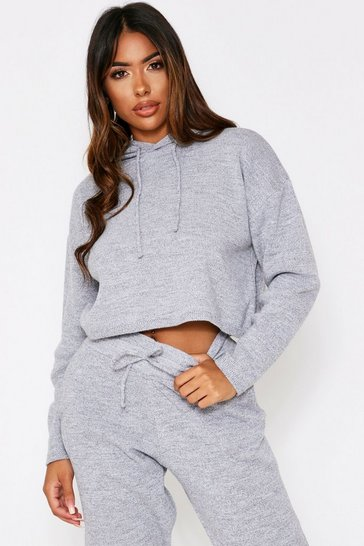 Grey Basic Cropped Hooded Knitted Lounge Set