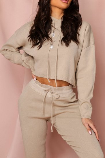 Oatmeal Basic Cropped Hooded Knitted Lounge Set