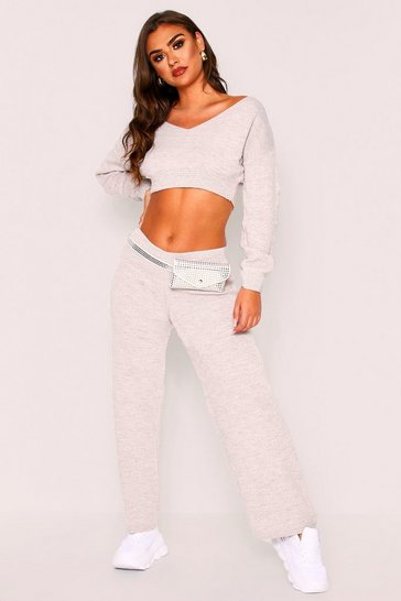 Oatmeal Basic Double V Neck Knitted Lounge Set