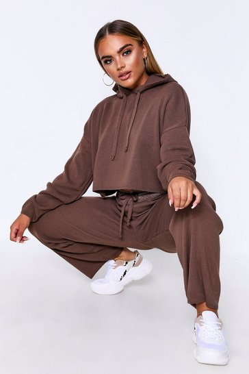 Womens Taupe Basic Knitted Hooded Wide Leg Lounge Set