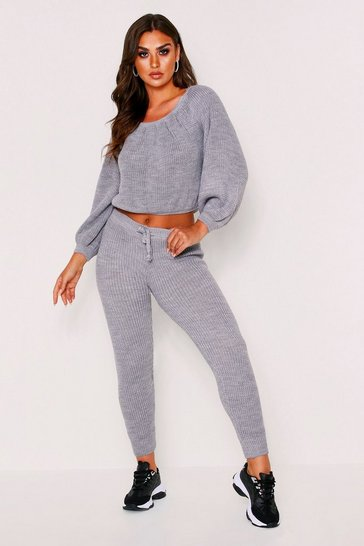 Womens Grey Waffle Knitted Jogger Lounge Set