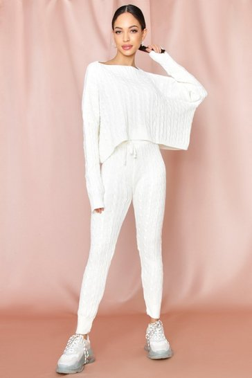 Cream Cable Knit Slash Neck Lounge Set