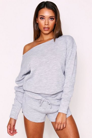 Womens Grey Basic Knitted Slash Neck Short Lounge Set