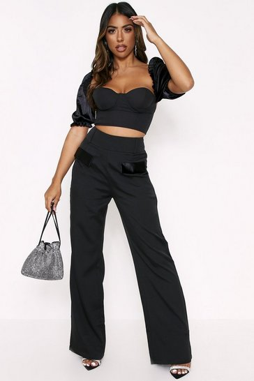 Womens Black Satin Pocket High Waisted Trousers