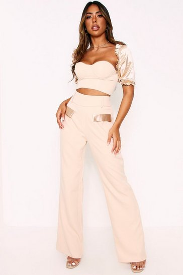 Womens Cream Satin Pocket High Waisted Trousers