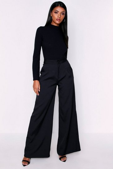 Womens Black High Waisted Woven Trousers