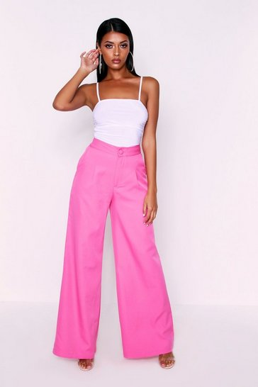 Womens Fuchsia High Waisted Woven Trousers