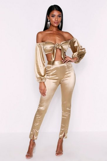 Womens Gold High Waisted Skinny Fit Satin Trousers