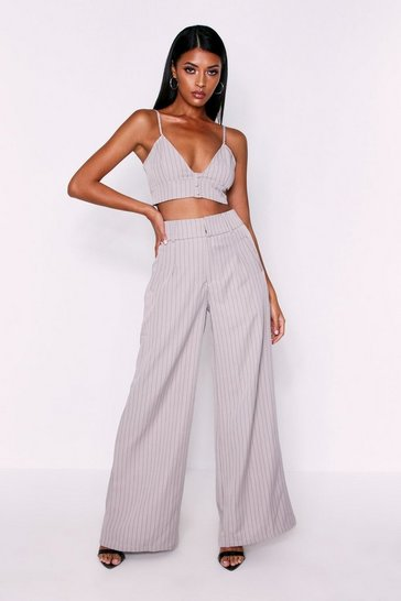 Womens Taupe High Waisted Pinstripe Trousers